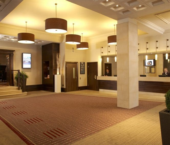 Reception area of the Rembrandt Hotel, London